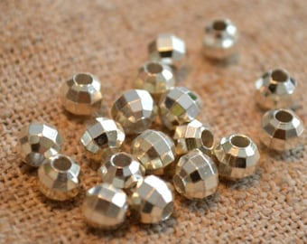 24pcs Silver Bead 5mm Faceted Round Brass Metal Spacer Beads