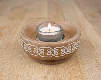 Celtic knotwork border candle holder, hand-painted hardwood