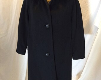 Vintage 50s 60s Ken Whitmore Tailorman Black Coat with Brown Fur Collar and Front Buttons