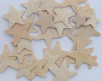 """50 ct Unfinished Wood Stars Cutouts 1"""" - 1.5"""" Wood Craft Shapes to Paint!"""