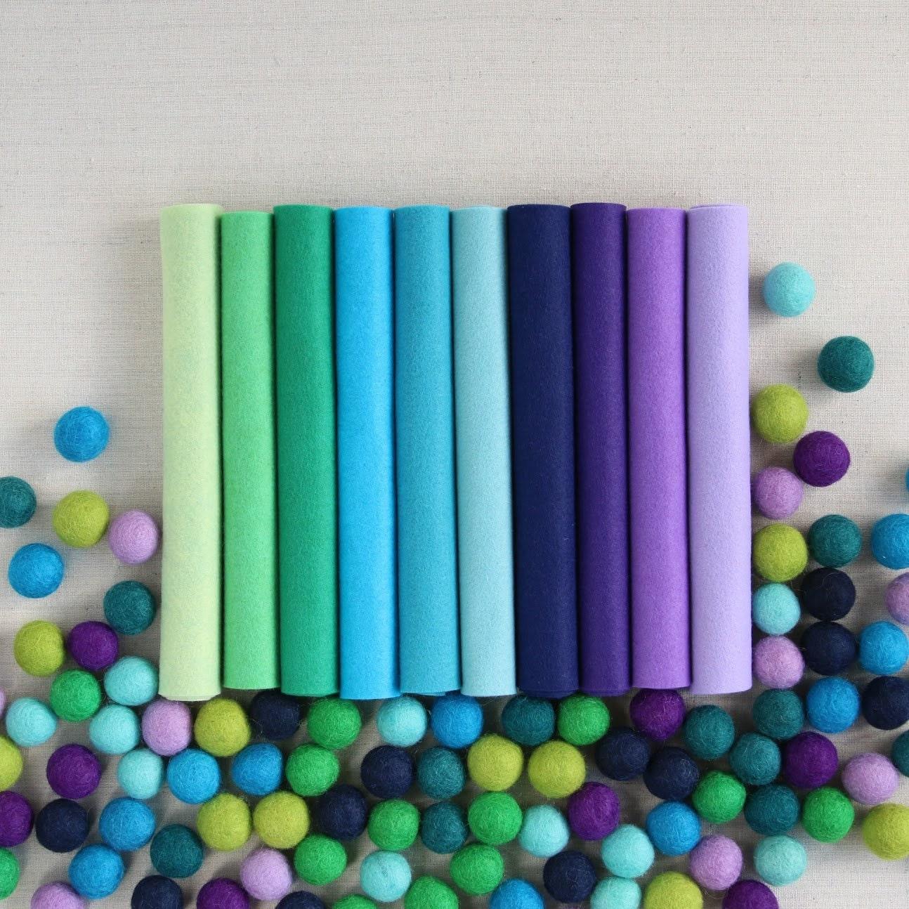 Wool Felt // Cools Palette // Cool Colors Cool Colored