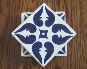 Set of 4 Blue and White Mexican Folk Art Tile Drink Coasters