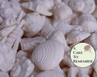 40 edible seashells for destination weddings or beach wedding cakes. White Edible Sea shells- for under the sea ocean cakes, mermaid cakes