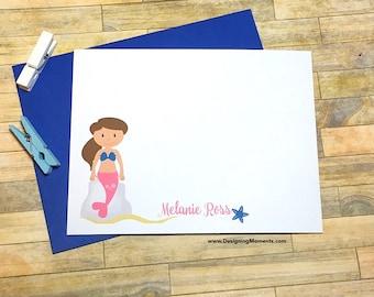 Mermaid Cards - Girls Mermaid Stationery - Note Cards - Personalized Mermaid Note Card Set - Custom Colors Mermaid Stationary DM176