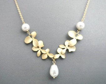 Triple, Pearl,  Orchid, Gold, Silver, Necklace, Orchid, Flower, Jewelry, Lovers, Friends, Wedding, Mom, Sister, Gift