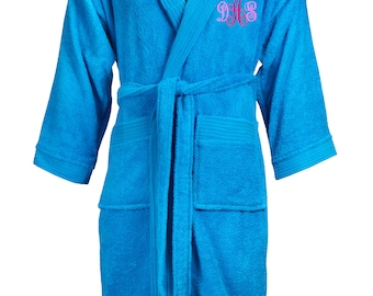 Monogrammed Hooded terrycloth bathrobe, custom embroidered hooded terry robe, personalized robe, embroidered terry robe, Robe with name