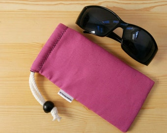 Glasses case,sunglasses case,pink pouch,canvas case,quilted glasses case,sunglasses cover,glasses bag,glasses soft case,pink glasses case
