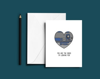 Greetings Card Love Star Wars Droid R2D2 Greeting Card With Envelope Anniversary Special Occasion A5 Card