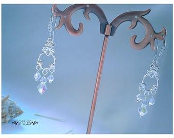 Wedding jewelry, Chandelier Earrings, Crystal Earrings, Silver Earrings, Antique Earrings, Vintage Earrings, Victorian