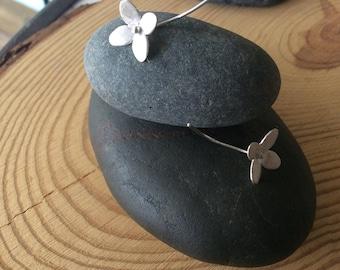 Sterling Silver Flower and Stem Earrings, Shorter Length
