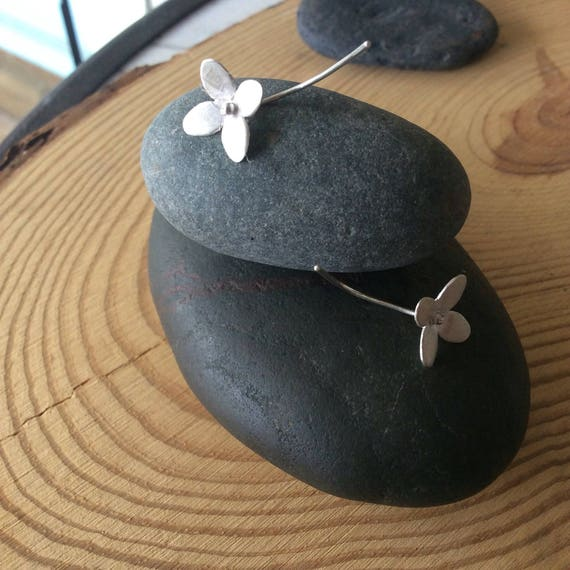 Sterling Silver Flower and Stem Earrings, Shorter Length