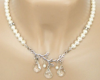 Necklaces for Women Pearl Necklace Beaded Necklace with Pendant Bridal Necklace Pearl Choker Necklace Wedding Jewelry Crystal Necklace