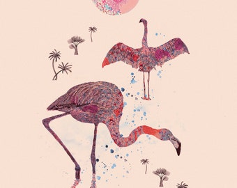 Tropical Series: Flamingoes & the Moonrise  — Art Illustration Giclee Print