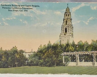 Antique 1915 Postcard-Panama Pergola-California Exposition-Building & Pergola-San Diego-FREE SHIPPING!