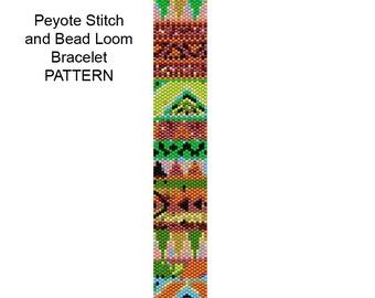 Tribal Bracelet Pattern - Peyote Stitch and Bead Loom Bracelet Pattern - Tribal12