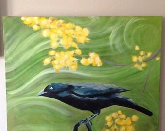 Acrylic painting of blackbird (original)