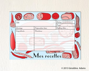 Recipe Cards set of 12 6x4 cards French Cold Cuts Meats Mes Recettes 2 sides gift for a cook gourmet Bridal shower gift hostess gift red