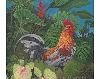 Speckled Kauai Rooster, Small Giclee Print
