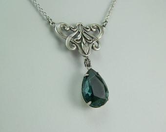 London Blue Teardrop, Teardrop Necklace, Denim Blue Necklace, London Blue Crystal, Something Blue, Antique Silver Blue Teardrop, London Blue