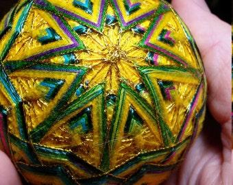 Yellow Green Temari Egg Thread Ball Japanese