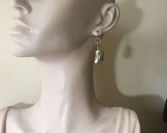 Victorian 9ct Yellow Gold & Turquoise Lucky Bean Earrings