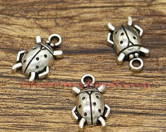 50pcs Ladybug Charms Insect Charms Antique Silver Tone 11x17mm cf2989