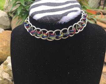 Colorful chainmail choker, handmade