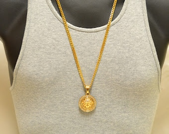 "Iced Out 24K Gold Overlay Micro Medusa Round Charm CZ Pendant Miami Cuban Link Neck Chain 28"", Street Wear Fashion, Artists, Celebrity"