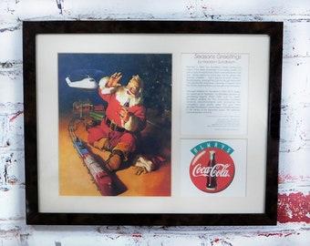"Coke Christmas - Santa picture frame -Coke Print Ad  -""Seasons Greetings"" - Framed Coke Ad - Santa picture - Coca Cola Ad =#  13"