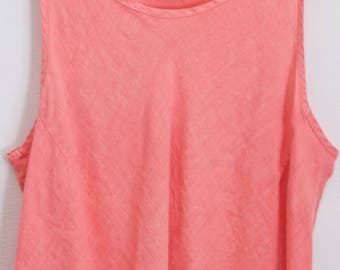 80s DREAMY LINEN CROP > Vintage Swing Vest > Tank Shirt > Coral Pink Orange > Key West  > Sleeveless Top > Bohemian > Tank > Womens Clothing