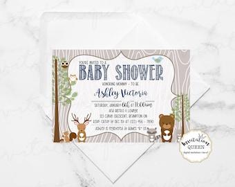 Woodland Baby Shower Invitation woodland baby shower invitation boy baby shower animal invitation baby boy shower
