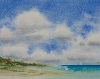 Another Shore, Watercolor Print, Seascape, Shore, Beach, Clouds, Coast, Sailboats, Blue