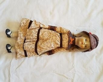 Walda- Vintage Porcelain Doll w/ Brown & black Dress W/ hat Possibly handmade 17