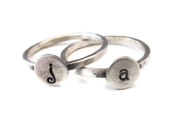 Initial Rings in Sterling Silver Stackable