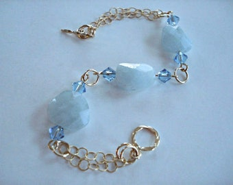 Aquamarine Bracelet in Gold, Birthstone Bracelet, Bridal Gift, 14k Gold Fill Chain Bracelet, Mothers Day Gift