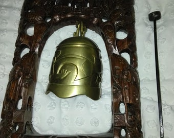 Vintage chinese wood carved oriental temple brass bell