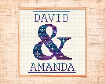 Wedding cross stitch pattern Ampersand cross stitch Family name cross stitch Bridal Space themed Customizable counted cross stitch chart PDF