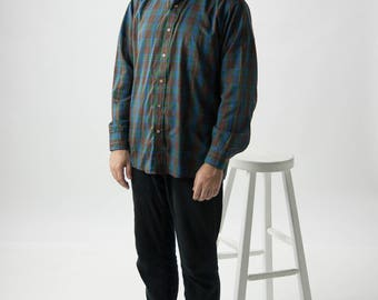 Brown Plaid Shirt / Long Sleeve Button Up / Summer Mens Shirt