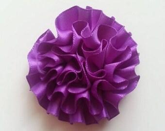 fleur en ruban de satin violet  50mm
