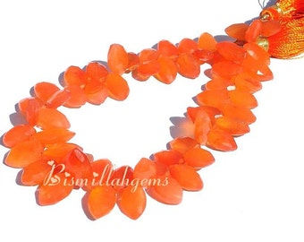 Fine Quality Carnelan Faceted Marquise Briolettes Half Strand/4 Inches Long 8x5 - 14x8mm approx