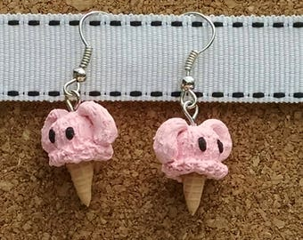 Pink Bunny Ice Cream Cone Polymer Clay Earrings