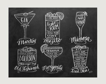 Bartender Gift - Cocktails Print - Bar Cart Art- Chalkboard Art - Kitchen Art - Bartender Gift - Chalk Art