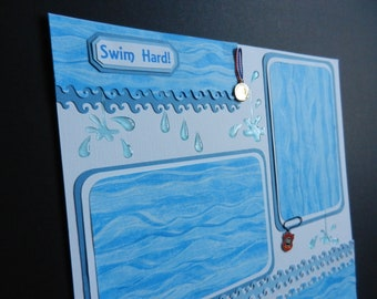 Make every lap count!  Swimming 12x12 Premade Scrapbook Page Scrapbook Pages Scrapbooking