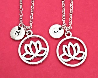 Set of 2, 925 Sterling silver,Best friend necklace, lotus flower necklace, flower necklace,2 bff necklaces,friendship jewelry,sister, person