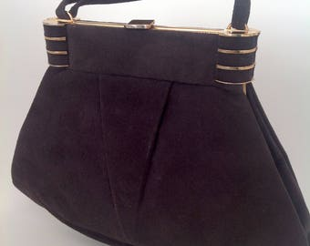 Stylish 1930s handbag purse Art Deco suede vintage antique