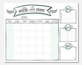 wall calendar printable : 16x20 DIGITAL FILE in *MINT* color