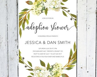 Adoption Shower Invitation, Gender Neutral, Printable, Printed, Greenery, Wreath