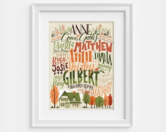 Anne of Green Gables poster, characters and places in handlettering (12,60 x 18,10)