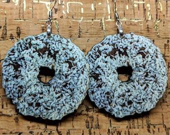 Chocolate Donut Earrings / Wood Earrings / Chocolate Coconut Earrings / Snack Food Jewelry / Donut Jewelry / Kitsch Jewelry / Hypoallergenic