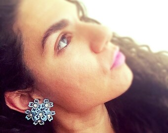 Vintage 1950s Floral Clip On Earrings/Blue Floral Earrings/Floral Statement Earrings/ What a Cluster!